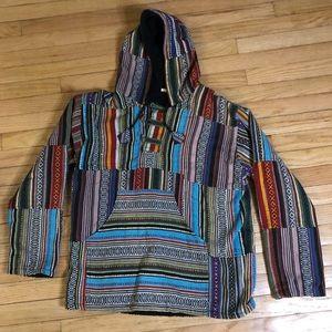 NEPAL Cotton Woven Baja Style Hoodie Medium